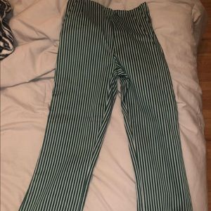 H&M stripped fitted pants, flare at the end